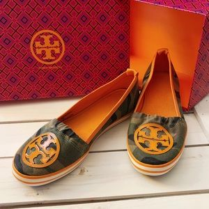 Tory Burch Limited Edition Camo & Orange Slip on
